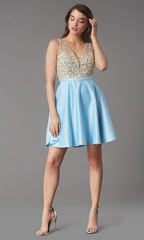 Image of short sequin-bodice satin homecoming party dress. Style: LP-PL-25772S Detail Image 1