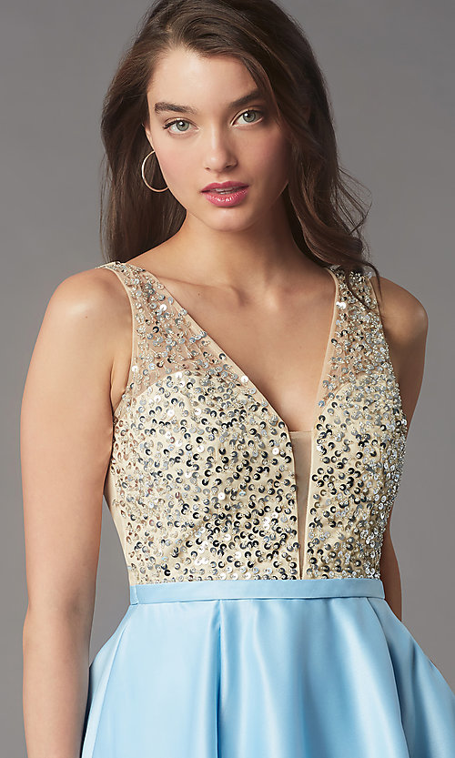 Image of short sequin-bodice satin homecoming party dress. Style: LP-PL-25772S Detail Image 2