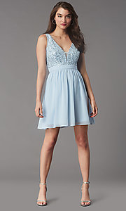 Image of sequin-lace-bodice short chiffon homecoming party dress. Style: LP-PL-24017-1S Detail Image 5