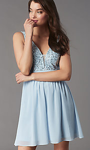 Image of sequin-lace-bodice short chiffon homecoming party dress. Style: LP-PL-24017-1S Detail Image 3