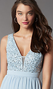 Image of sequin-lace-bodice short chiffon homecoming party dress. Style: LP-PL-24017-1S Detail Image 6