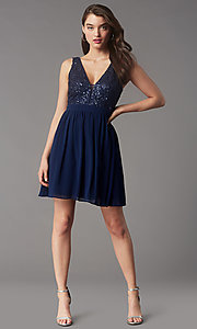 Image of sequin-lace-bodice short chiffon homecoming party dress. Style: LP-PL-24017-1S Front Image