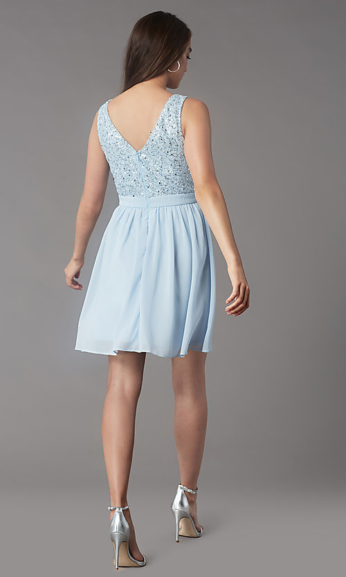 Image of sequin-lace-bodice short chiffon homecoming party dress. Style: LP-PL-24017-1S Detail Image 4