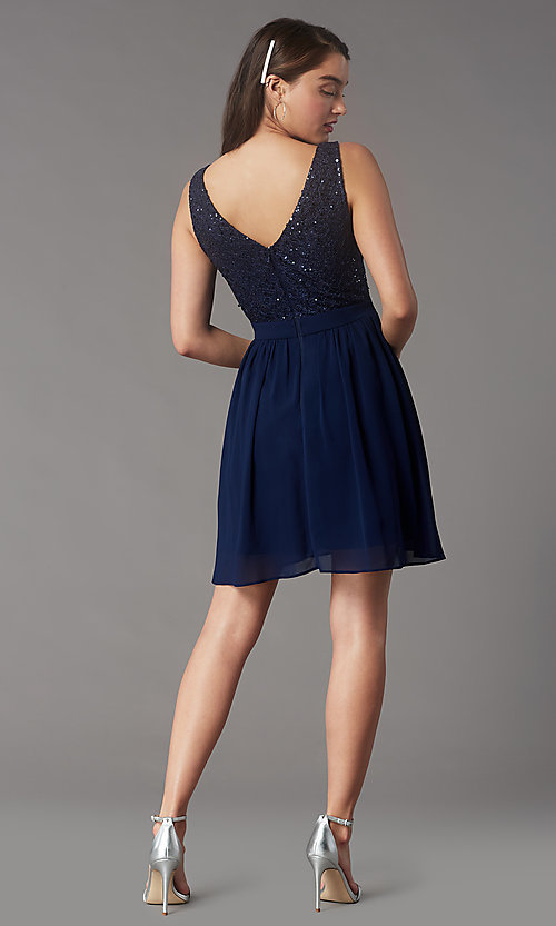Image of sequin-lace-bodice short chiffon homecoming party dress. Style: LP-PL-24017-1S Back Image
