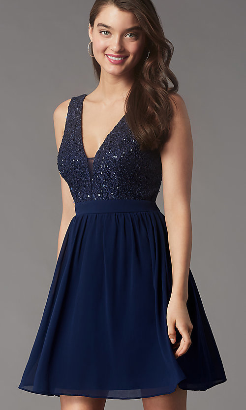 Image of sequin-lace-bodice short chiffon homecoming party dress. Style: LP-PL-24017-1S Detail Image 1