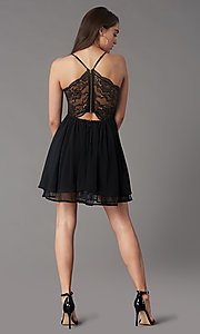 Image of lace-back short chiffon homecoming party dress. Style: LP-PL-MG26467 Back Image