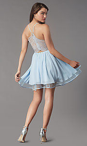 Image of lace-back short chiffon homecoming party dress. Style: LP-PL-MG26467 Detail Image 4