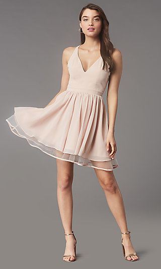 Lace-Back Short Chiffon Homecoming Party Dress