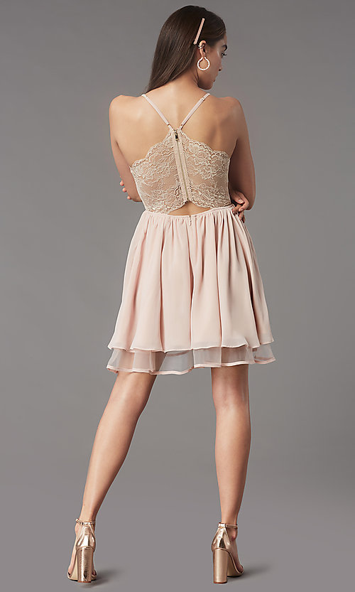 Image of lace-back short chiffon homecoming party dress. Style: LP-PL-MG26467 Detail Image 7