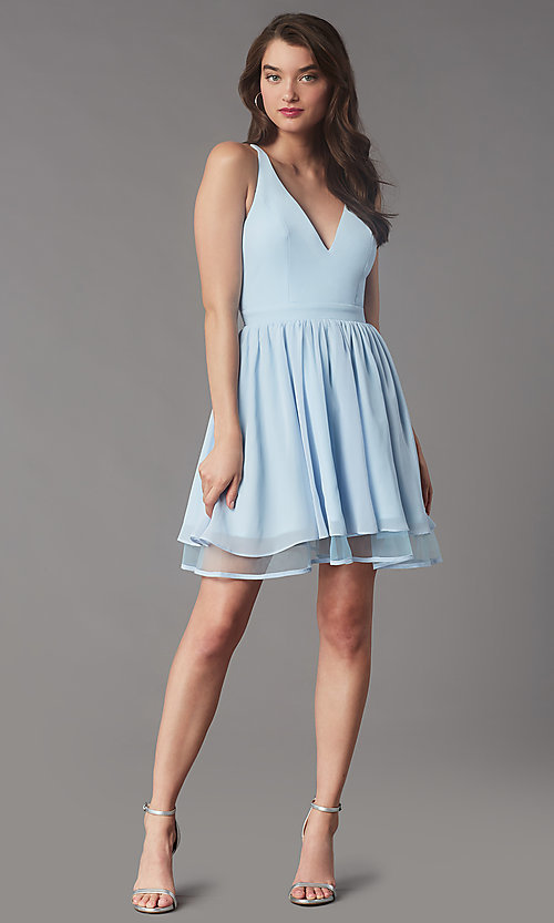 Image of lace-back short chiffon homecoming party dress. Style: LP-PL-MG26467 Detail Image 3