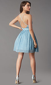 Image of backless short metallic homecoming party dress. Style: LP-PL-MG20129 Back Image