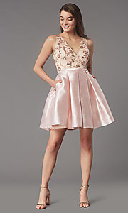 Image of sequin-embroidered-bodice short homecoming dress. Style: LP-PL-26330 Front Image