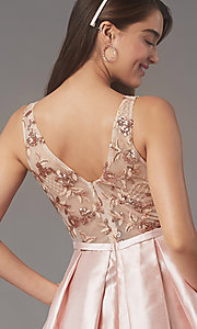 Image of sequin-embroidered-bodice short homecoming dress. Style: LP-PL-26330 Detail Image 3