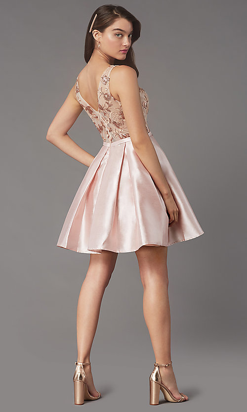 Image of sequin-embroidered-bodice short homecoming dress. Style: LP-PL-26330 Back Image