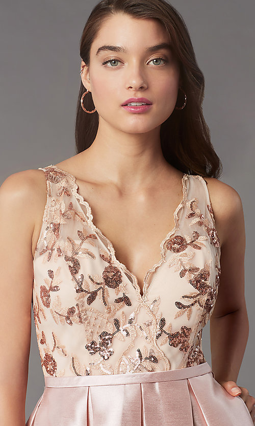 Image of sequin-embroidered-bodice short homecoming dress. Style: LP-PL-26330 Detail Image 2