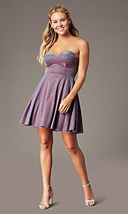 Image of metallic short strapless homecoming party dress. Style: LP-PL-26482 Detail Image 1
