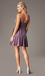 Image of metallic short strapless homecoming party dress. Style: LP-PL-26482 Back Image
