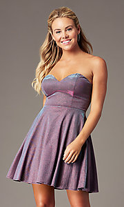Image of metallic short strapless homecoming party dress. Style: LP-PL-26482 Front Image