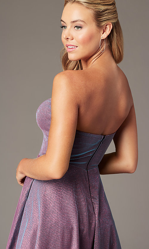 Image of metallic short strapless homecoming party dress. Style: LP-PL-26482 Detail Image 3