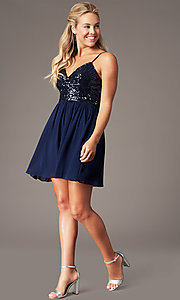 Image of short sequin-bodice homecoming party dress. Style: LP-PL-25267S Detail Image 5