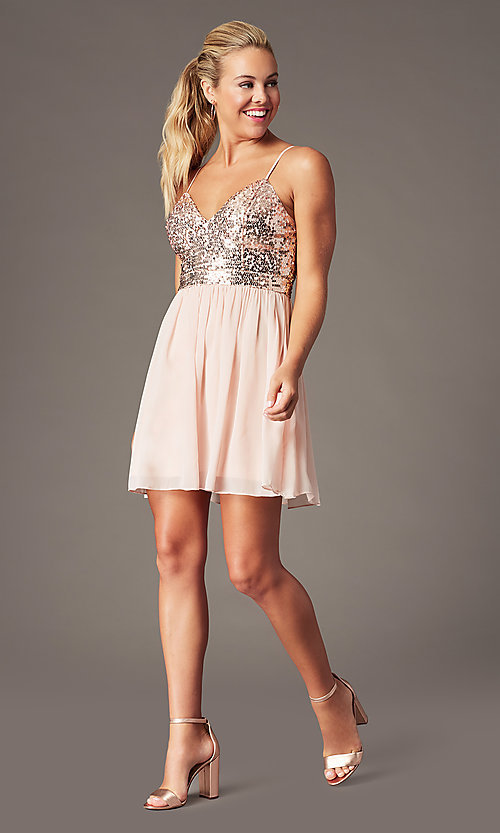 Image of short sequin-bodice homecoming party dress. Style: LP-PL-25267S Front Image