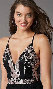 Image of short embroidered-bodice black homecoming dress. Style: LP-PL-MG20089S Detail Image 2
