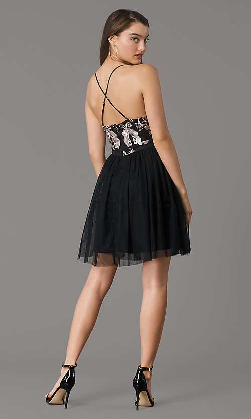 Image of short embroidered-bodice black homecoming dress. Style: LP-PL-MG20089S Back Image