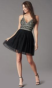 Image of short black lace-bodice homecoming party dress. Style: LP-PL-MG27892S Front Image