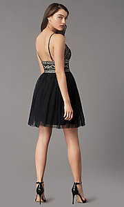 Image of short black lace-bodice homecoming party dress. Style: LP-PL-MG27892S Back Image