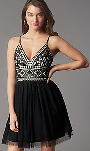 Image of short black lace-bodice homecoming party dress. Style: LP-PL-MG27892S Detail Image 1