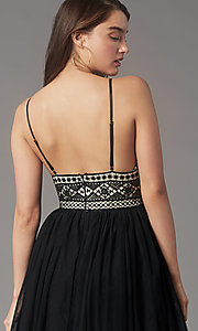 Image of short black lace-bodice homecoming party dress. Style: LP-PL-MG27892S Detail Image 2