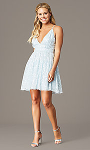 Image of short open-back sequin homecoming dress. Style: LP-PL-26486 Detail Image 1