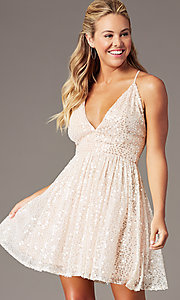 Image of short open-back sequin homecoming dress. Style: LP-PL-26486 Detail Image 2