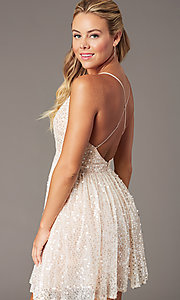 Image of short open-back sequin homecoming dress. Style: LP-PL-26486 Detail Image 3