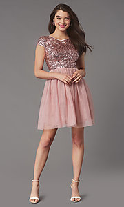 Image of cap-sleeve sequin-bodice short hoco party dress. Style: LP-PL-26547 Detail Image 1