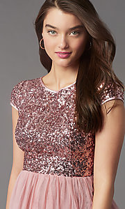 Image of cap-sleeve sequin-bodice short hoco party dress. Style: LP-PL-26547 Detail Image 2