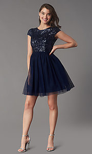 Image of cap-sleeve sequin-bodice short hoco party dress. Style: LP-PL-26547 Detail Image 5