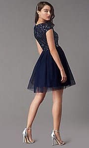 Image of cap-sleeve sequin-bodice short hoco party dress. Style: LP-PL-26547 Back Image