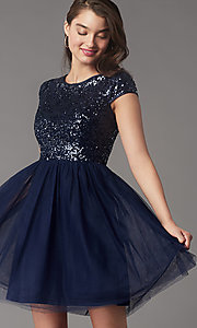 Image of cap-sleeve sequin-bodice short hoco party dress. Style: LP-PL-26547 Detail Image 3