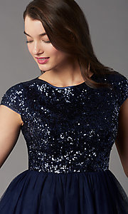 Image of cap-sleeve sequin-bodice short hoco party dress. Style: LP-PL-26547 Detail Image 6