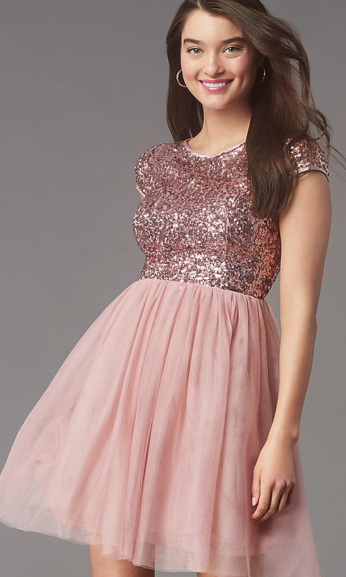 Image of cap-sleeve sequin-bodice short hoco party dress. Style: LP-PL-26547 Front Image