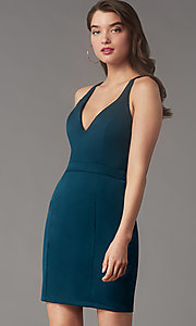 Image of lace-back short homecoming party dress by Simply. Style: LP-SD-MG20130 Detail Image 2