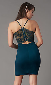 Image of lace-back short homecoming party dress by Simply. Style: LP-SD-MG20130 Front Image