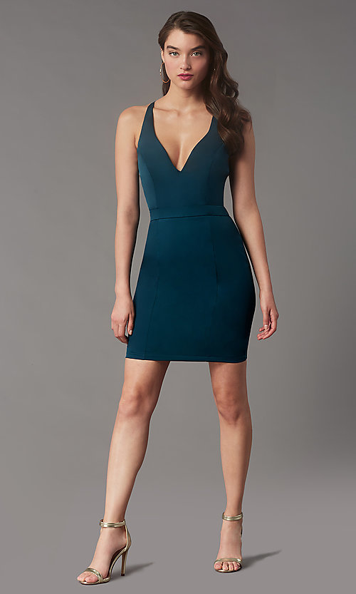 Image of lace-back short homecoming party dress by Simply. Style: LP-SD-MG20130 Back Image
