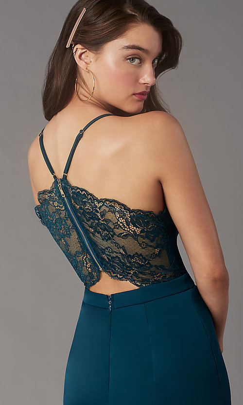 Image of lace-back short homecoming party dress by Simply. Style: LP-SD-MG20130 Detail Image 3