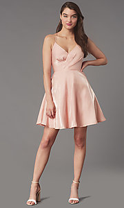 Image of pleated-bodice short homecoming dress by Simply. Style: LP-SD-MG20139 Detail Image 1