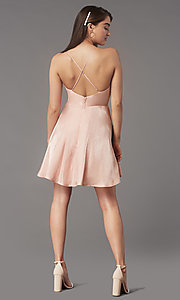 Image of pleated-bodice short homecoming dress by Simply. Style: LP-SD-MG20139 Back Image