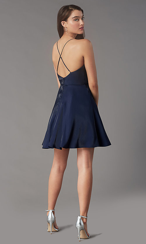 Image of pleated-bodice short homecoming dress by Simply. Style: LP-SD-MG20139 Detail Image 4