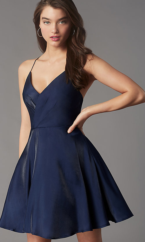 Image of pleated-bodice short homecoming dress by Simply. Style: LP-SD-MG20139 Detail Image 6
