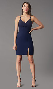 Image of short tight v-neck homecoming party dress by Simply. Style: LP-SD-MG20043 Detail Image 3